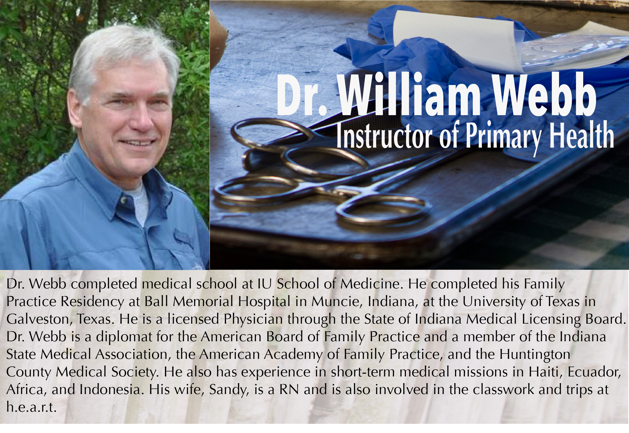 Dr. William Webb -HEART Institute - Central Florida, Lake Wales, Florida - Sustainability Training - Missionary Training