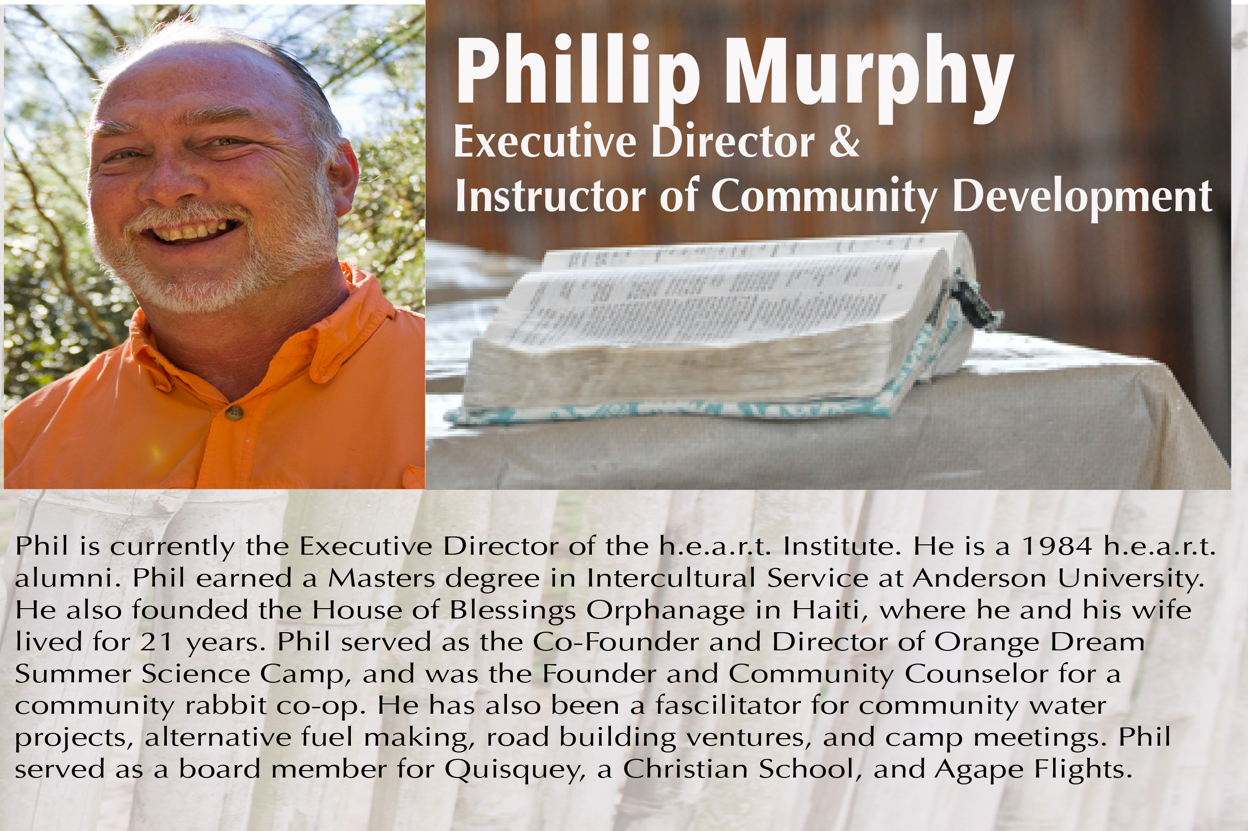 Phil Murphy - Executive Directior - HEART Institute - Central Florida, Lake Wales, Florida - Sustainability Training - Missionary Training